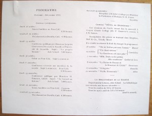 Programme from the 1933 meeting of La Société Française de l'Université de Cambridge